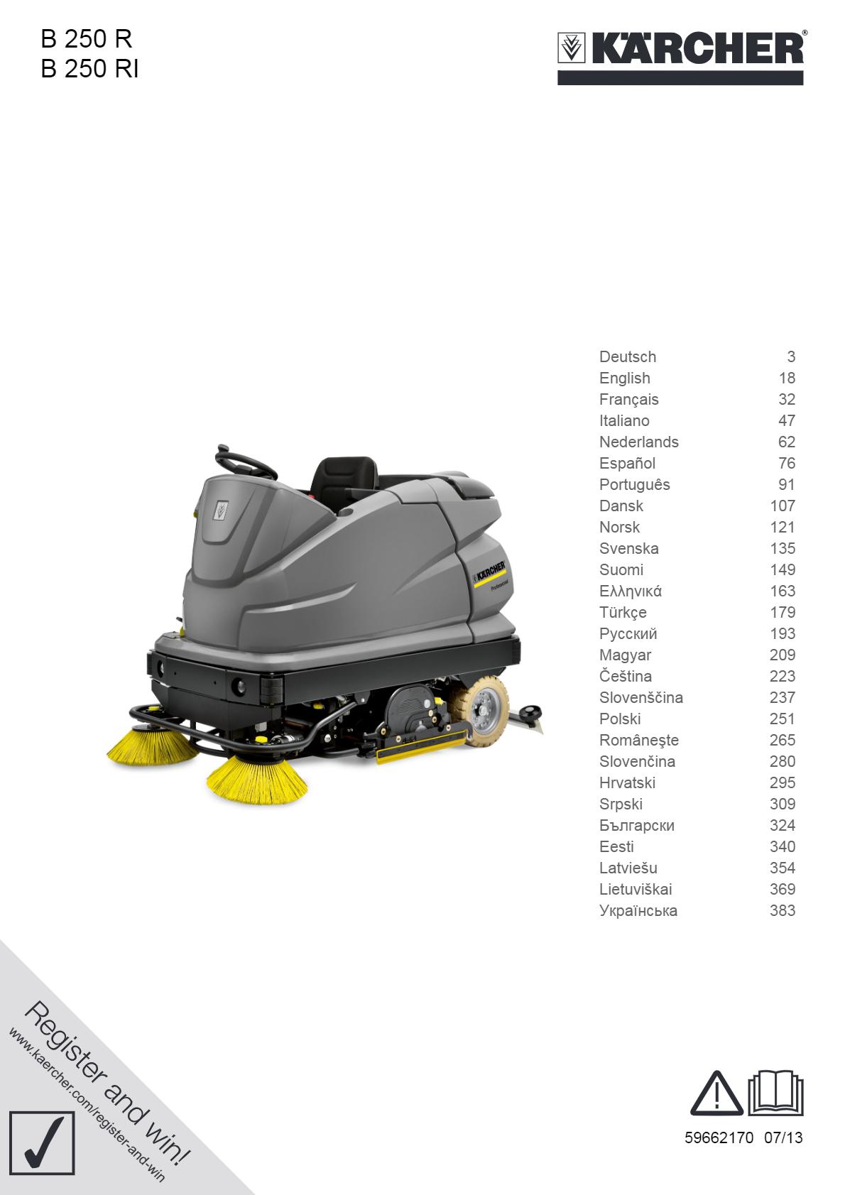 洗地吸干机 B 250 R 说明书说明书下载