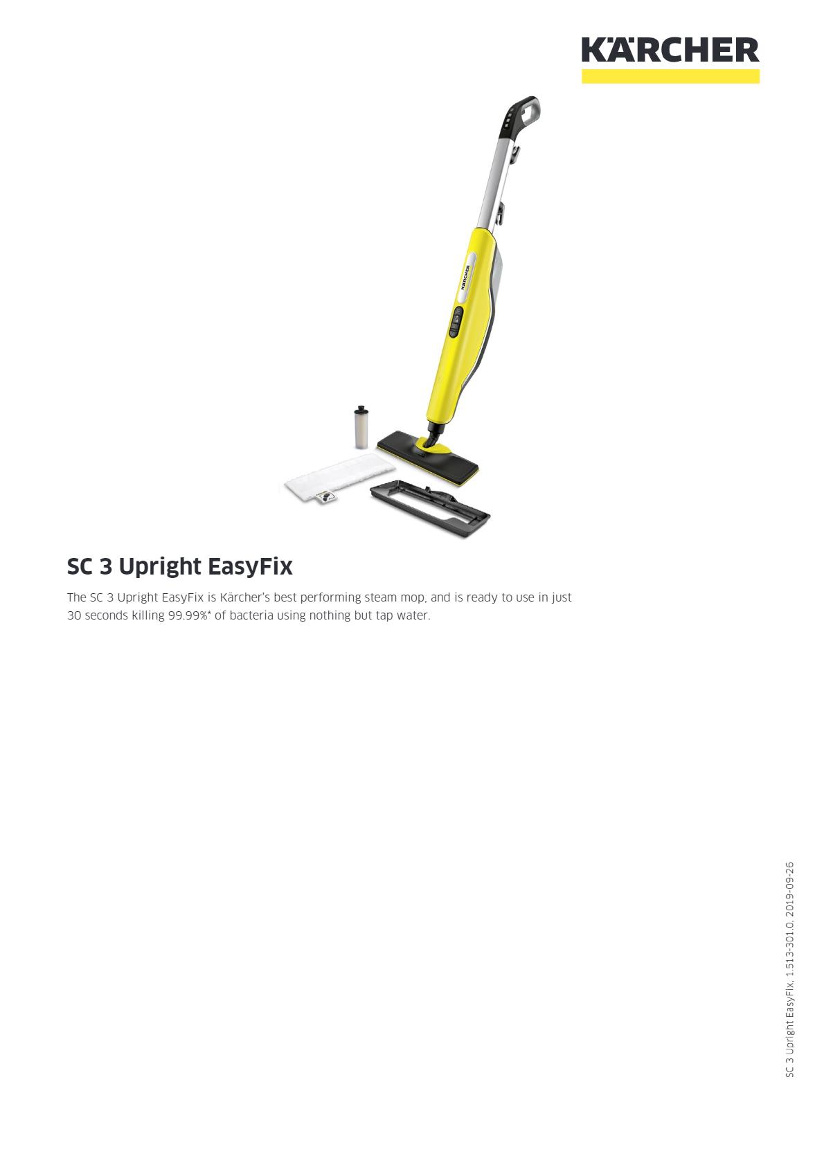 蒸汽吸尘器 SC 3 Upright EasyFix 说明书说明书下载